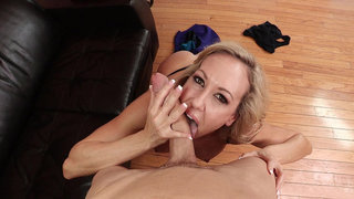 Brandi Love sucks that huge cock POV style Thumbnail