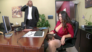 Alison Tyler has CEO's son eat her hungry pussy underneath her desk Thumbnail