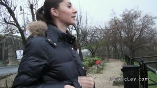 Euro brunette flashing in public for cash Thumbnail
