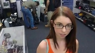 Chick in glasses pawns her ring and fuck Thumbnail