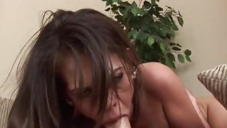 Deepthroat and gagging with busty brunette