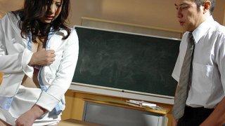 Horny Asian teacher Jun Sena is a total whore Thumbnail
