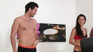 Hot female agent Alexis gets into a threesome with a couple Thumbnail