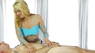 Sexy masseuse blowjobs her clients cock under the table Thumbnail