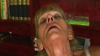 A nasty blonde granny masturbates then gets young hard penis in her vagina Thumbnail