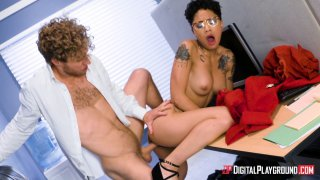 Honey Gold gets her glasses glazed with cum on the first day at work Thumbnail