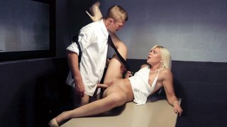 Rharri Rhound gets her shaved pussy nailed on the desk Thumbnail