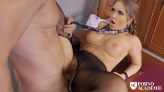 Sexy college girl with big tits pussy pounded on desk Thumbnail