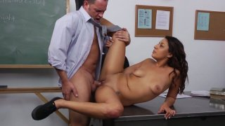 Young brunette Gigi Loren gets her pussy drilled on the table Thumbnail