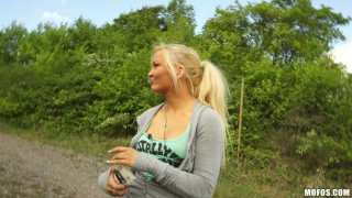 Shy blonde lady Veronika sells her fresh quim for a few bucks Thumbnail
