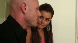Beautiful bitch Allie Haze gives a head to a bald guy Thumbnail