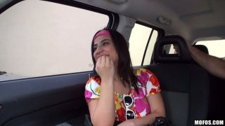 Horny brunette Gabby Vega sucks a cock right in the car Thumbnail