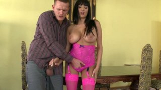 Busty hooker in pink lingerie set Anissa Kate sucking massive dick Thumbnail